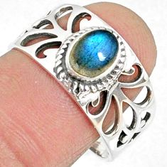 1.49cts natural blue labradorite 925 silver solitaire ring jewelry size 8 r68948