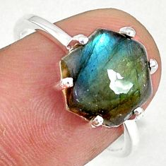 5.44cts natural blue labradorite 925 silver solitaire ring jewelry size 8 r71002