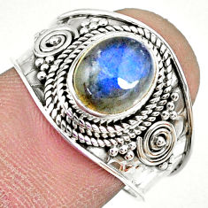 3.19cts natural blue labradorite silver solitaire handmade ring size 8 r74733