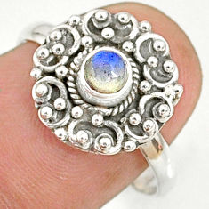 0.67cts natural blue labradorite 925 silver solitaire ring jewelry size 8 r76777