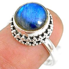 5.36cts natural blue labradorite 925 silver solitaire ring jewelry size 8 r76796