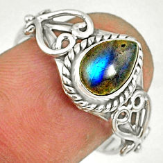 1.59cts natural blue labradorite silver solitaire handmade ring size 8 r82133