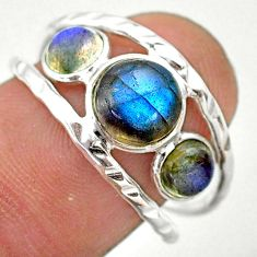 3.91cts natural blue labradorite 925 silver solitaire ring jewelry size 8 t26758