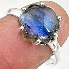 4.22cts natural blue labradorite 925 silver solitaire handmade ring size 8 t8291