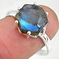 5.13cts natural blue labradorite 925 silver solitaire handmade ring size 8 t8292