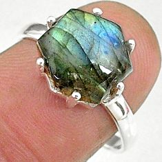 5.25cts natural blue labradorite 925 silver solitaire handmade ring size 8 t8296