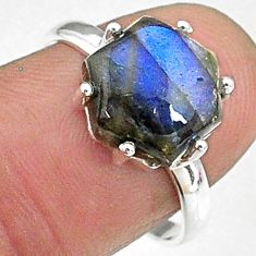 5.05cts natural blue labradorite 925 silver solitaire handmade ring size 8 t8300