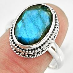 6.22cts natural blue labradorite 925 silver solitaire ring jewelry size 9 r26311