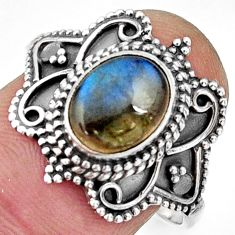 3.01cts natural blue labradorite 925 silver solitaire ring jewelry size 9 r26797