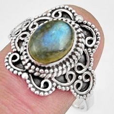 3.01cts natural blue labradorite 925 silver solitaire ring jewelry size 9 r26999
