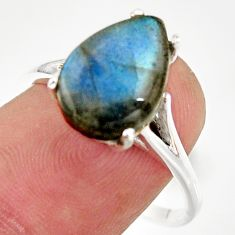 5.45cts natural blue labradorite 925 silver solitaire ring jewelry size 9 r35895