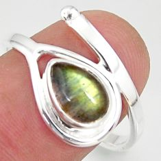 2.44cts natural blue labradorite 925 silver solitaire ring jewelry size 9 r37920
