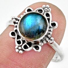2.78cts natural blue labradorite 925 silver solitaire ring jewelry size 9 r41491