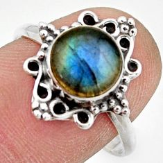2.78cts natural blue labradorite 925 silver solitaire ring jewelry size 9 r41492