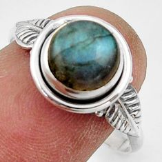 3.03cts natural blue labradorite 925 silver solitaire ring jewelry size 9 r41515
