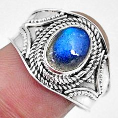 3.26cts natural blue labradorite 925 silver solitaire ring jewelry size 9 r57953
