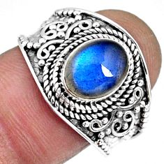 3.01cts natural blue labradorite 925 silver solitaire ring jewelry size 9 r57958