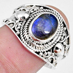 3.19cts natural blue labradorite 925 silver solitaire ring jewelry size 9 r58323
