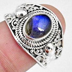 3.01cts natural blue labradorite 925 silver solitaire ring jewelry size 9 r58326