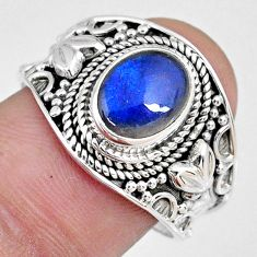 3.01cts natural blue labradorite 925 silver solitaire ring jewelry size 9 r58332