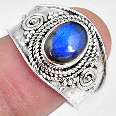 3.18cts natural blue labradorite 925 silver solitaire ring jewelry size 9 r58334