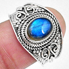 3.01cts natural blue labradorite 925 silver solitaire ring jewelry size 9 r58556