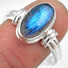 4.42cts natural blue labradorite 925 silver solitaire ring jewelry size 9 r66341