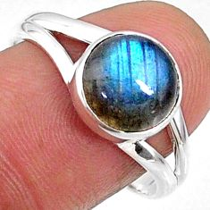 4.34cts natural blue labradorite 925 silver solitaire ring jewelry size 9 r66368
