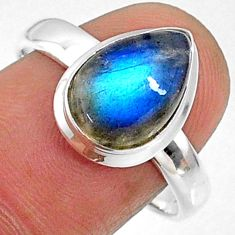 4.69cts natural blue labradorite 925 silver solitaire ring jewelry size 9 r66370