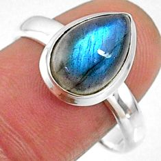 4.69cts natural blue labradorite 925 silver solitaire ring jewelry size 9 r66376
