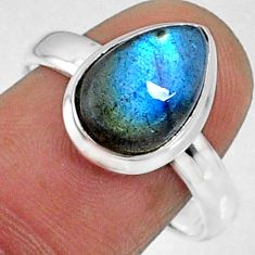 4.68cts natural blue labradorite 925 silver solitaire ring jewelry size 9 r66391