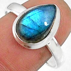 3.98cts natural blue labradorite 925 silver solitaire ring jewelry size 9 r66392