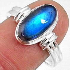 5.24cts natural blue labradorite 925 silver solitaire ring jewelry size 9 r66394