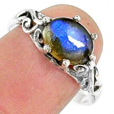 2.96cts natural blue labradorite 925 silver solitaire ring jewelry size 9 r68872