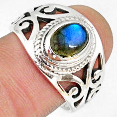 2.10cts natural blue labradorite 925 silver solitaire ring jewelry size 9 r68933