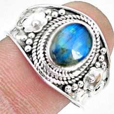 3.36cts natural blue labradorite silver solitaire handmade ring size 9 r74734