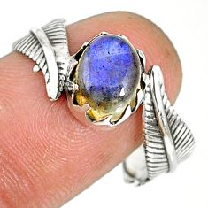 4.26cts natural blue labradorite 925 silver solitaire ring jewelry size 9 r77777