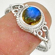 2.38cts natural blue labradorite 925 silver solitaire ring size 9 r79013