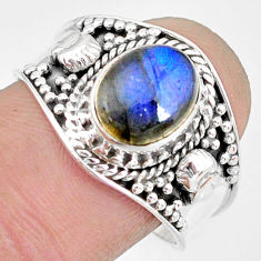 3.01cts natural blue labradorite 925 silver solitaire ring jewelry size 9 r83751