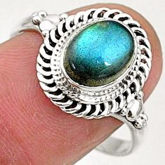 2.93cts natural blue labradorite 925 silver solitaire ring jewelry size 9 t5081