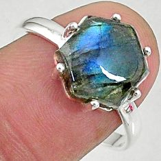5.13cts natural blue labradorite 925 silver solitaire handmade ring size 9 t8308