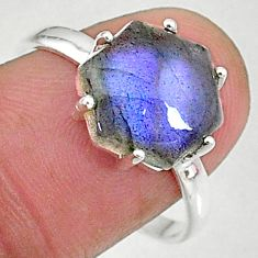 4.45cts natural blue labradorite 925 silver solitaire handmade ring size 9 t8310