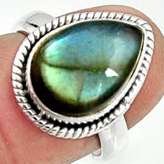 6.33cts natural blue labradorite 925 silver solitaire ring size 6.5 r22153