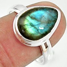 6.36cts natural blue labradorite 925 silver solitaire ring size 8.5 r22156