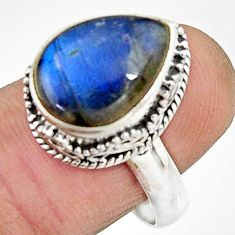 7.13cts natural blue labradorite 925 silver solitaire ring size 8.5 r22299