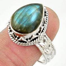 7.23cts natural blue labradorite 925 silver solitaire ring size 8.5 r22339