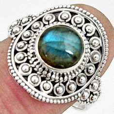 3.41cts natural blue labradorite 925 silver solitaire ring size 8.5 r22458
