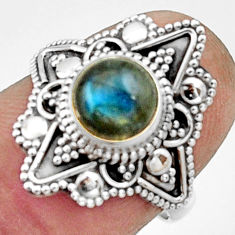 2.70cts natural blue labradorite 925 silver solitaire ring size 6.5 r22493