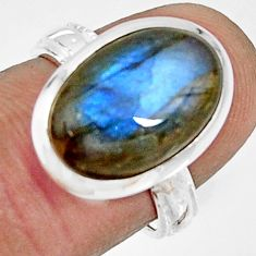 6.84cts natural blue labradorite 925 silver solitaire ring size 6.5 r22689