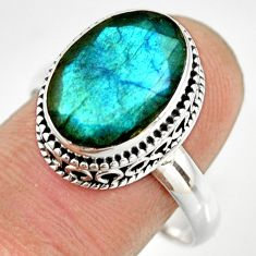 6.22cts natural blue labradorite 925 silver solitaire ring size 10.5 r26309